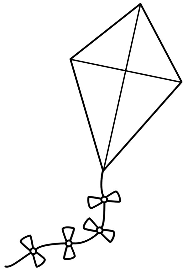 Clipart kite colouring page. A simple coloring panda
