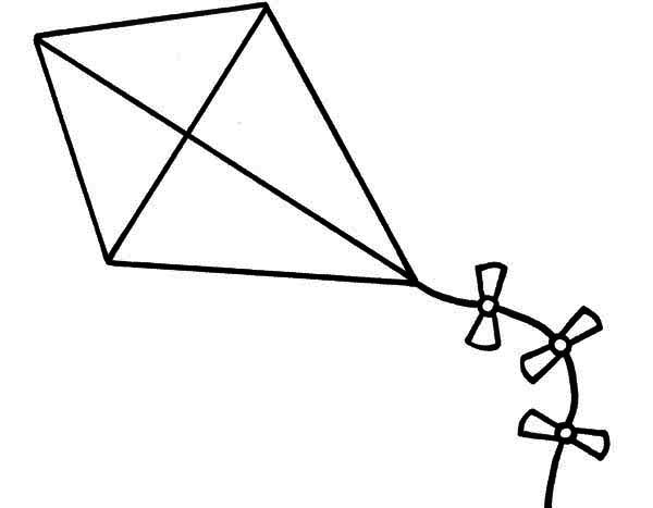 Clipart kite colouring page. Lineart coloring panda free