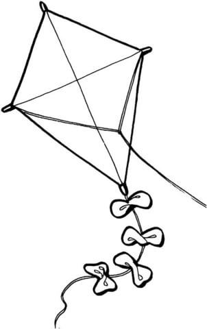 Coloring free printable pages. Clipart kite colouring page