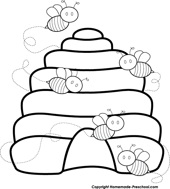 Cute bee beehive bw. Pajamas clipart black and white