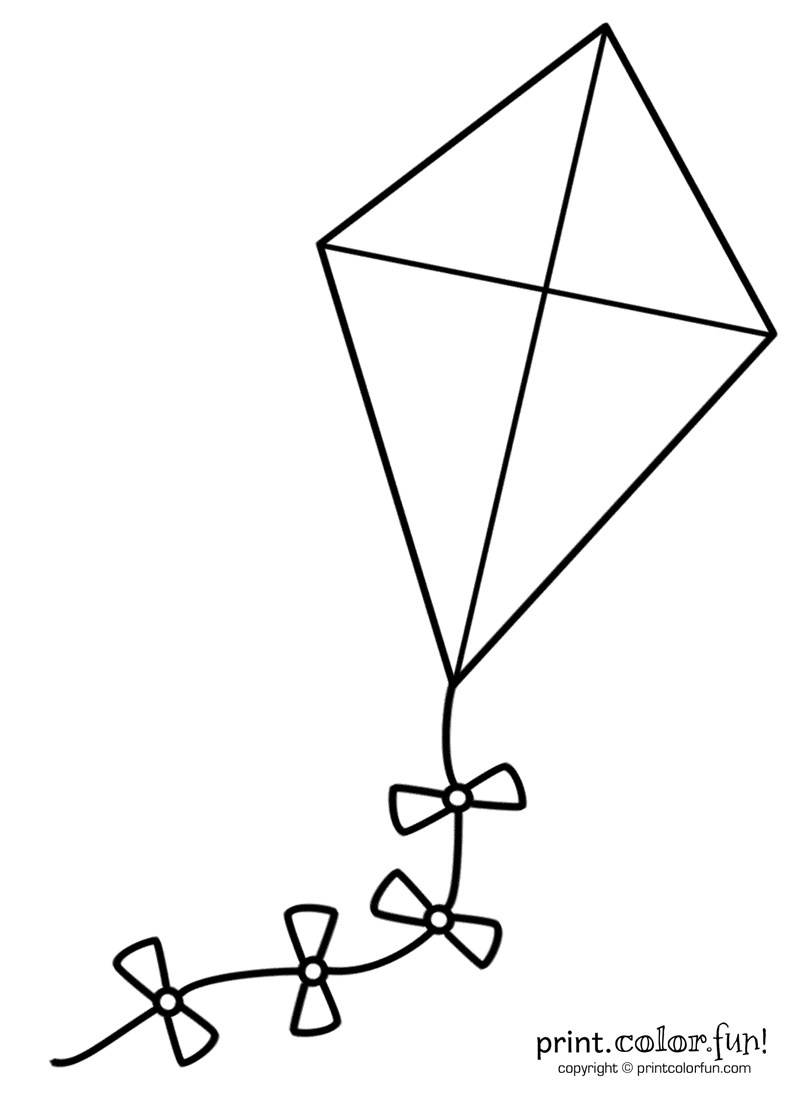 Big coloring page print. Kite clipart kite outline