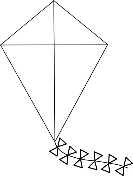 Clipart kite digital. Line art i royalty