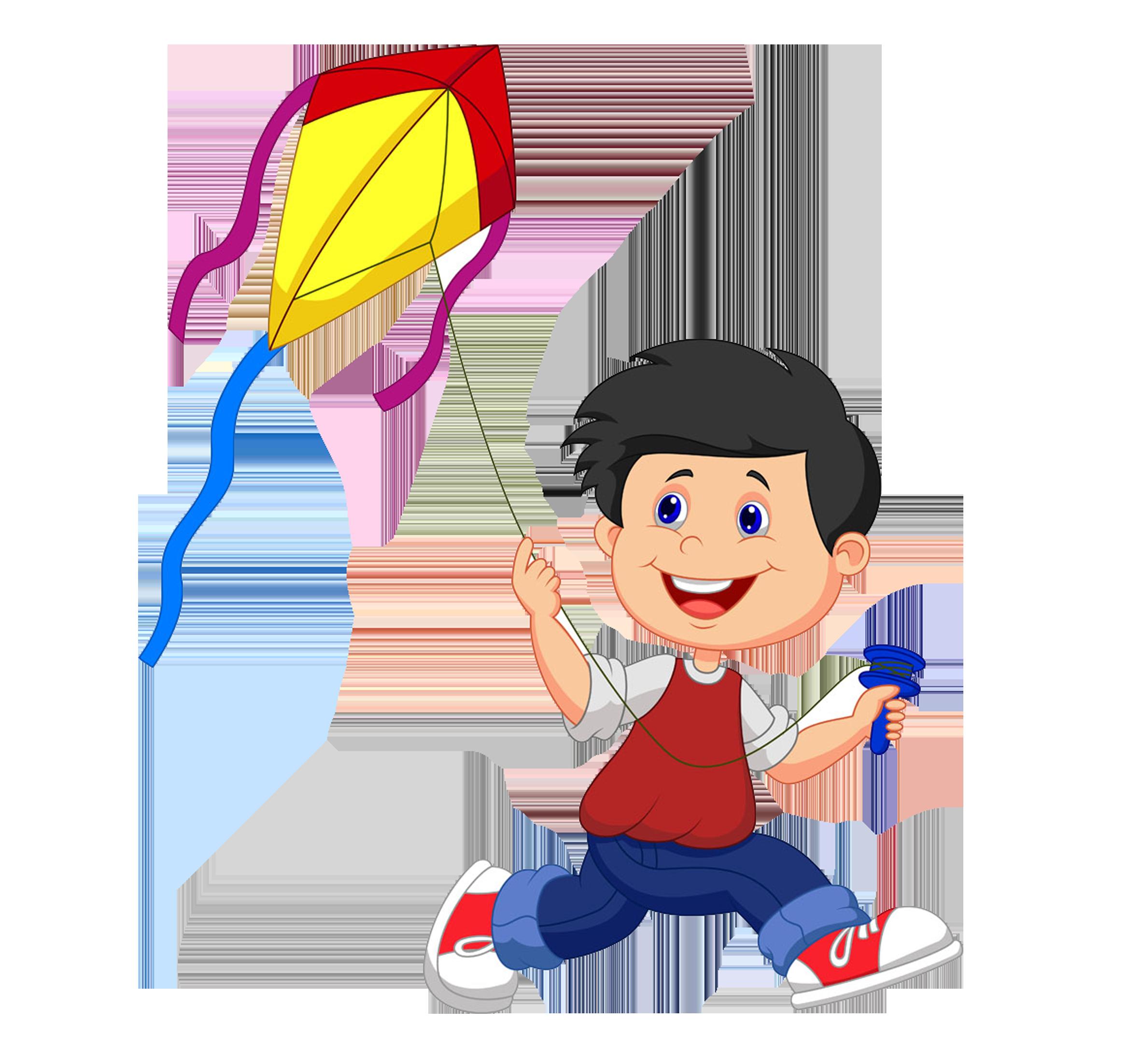 Cartoon illustration small people. Clipart kite kite chinese