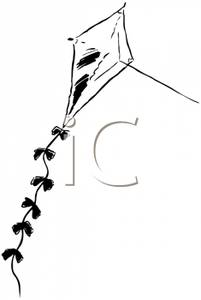 Black and white flying. Kite clipart old