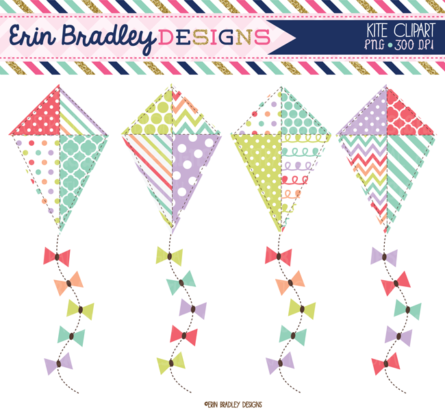 Sugar spring and summer. Clipart kite scrapbook paper