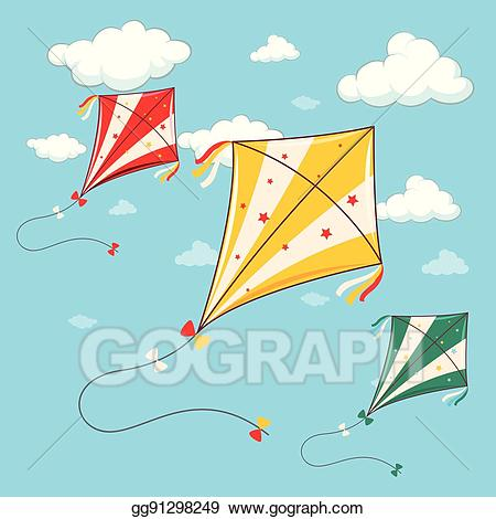 Clipart kite three. Vector colorful kites in