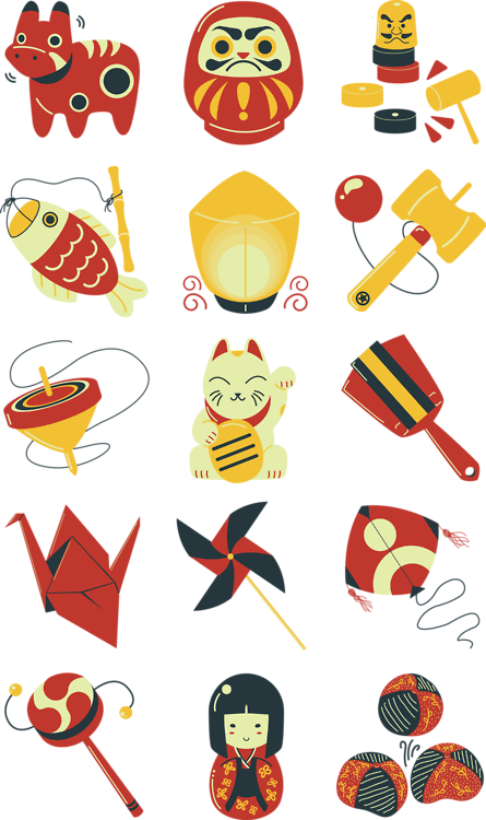 Set of icons designed. Clipart kite traditional