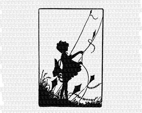 Girl flying kids children. Clipart kite vintage