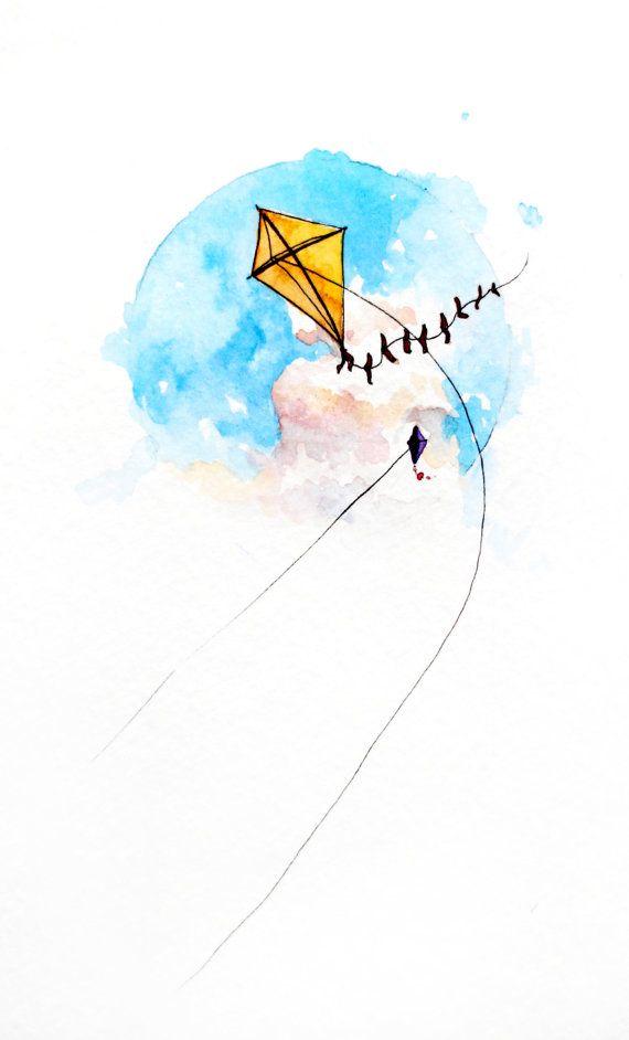Clipart kite watercolor. A joyful breeze painting