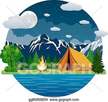 Lake clipart camping. Eps vector summer landscape