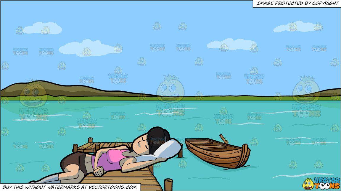 A sleeping woman and. Lake clipart cartoon