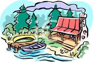 Clip art free cottages. Lake clipart cottage