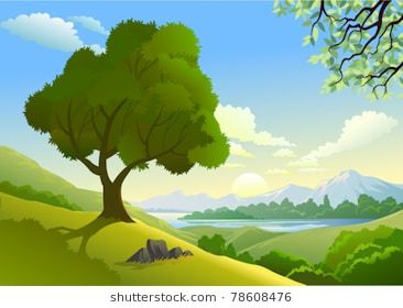 Amazing side and a. Lake clipart country landscape