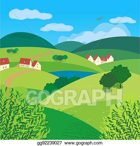 Lake clipart country landscape. Vector illustration green concept