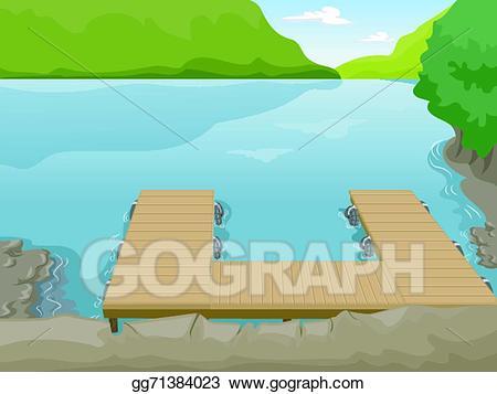 Lake clipart lake boat. Vector dock illustration