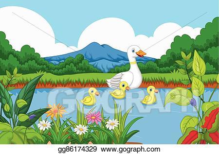Ducks clipart lake clipart. Vector art duck cartoon