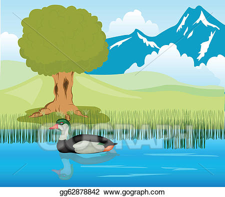 Lake clipart duck pond. Vector sails in illustration