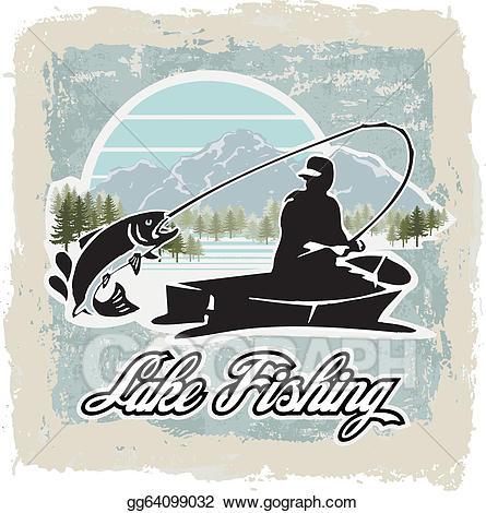Vector art drawing gg. Fishing clipart lake fishing