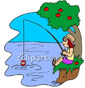 Fishing clipart lake fishing. A girl in stream