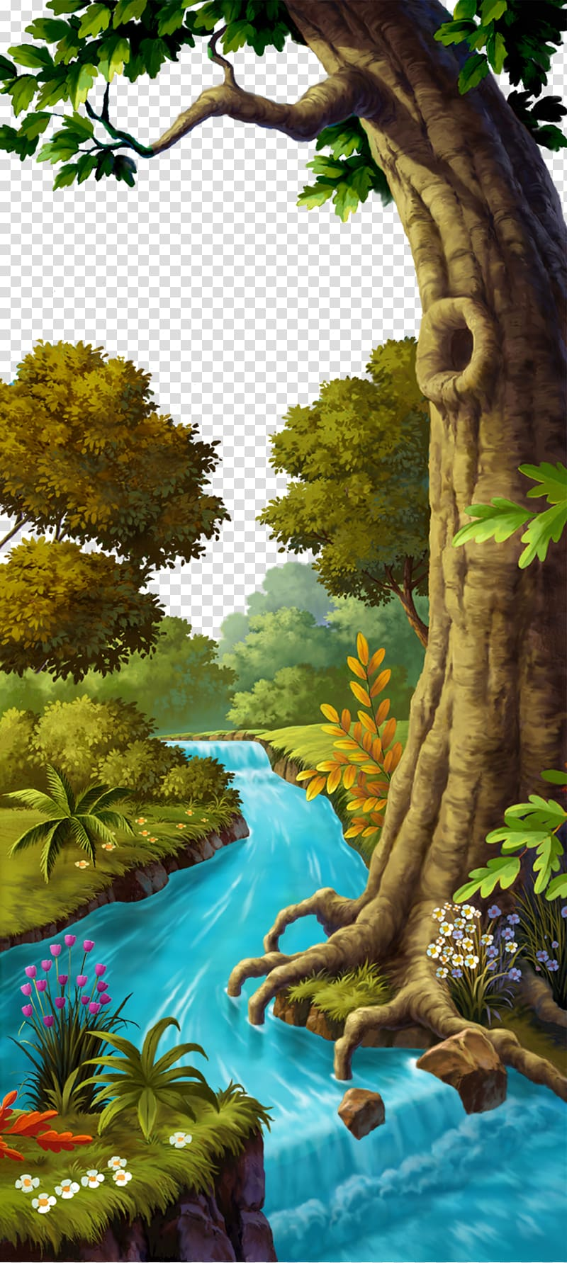 Lake clipart forest stream. Body of water surrounding
