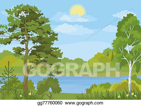 Stock illustration landscape with. Lake clipart grass tree