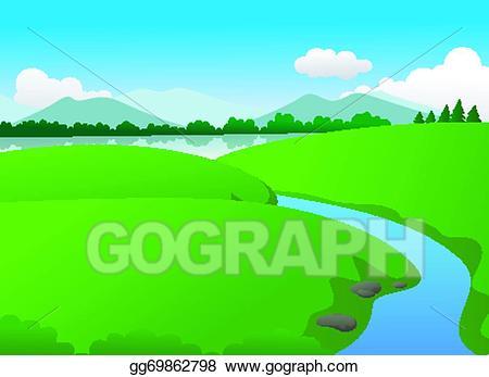 Lake clipart nature. Eps illustration beautiful green