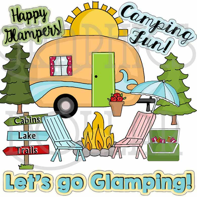 Clipart lake happy trail. Glampers clip art graphics