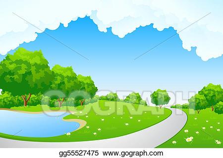 Stock illustration landscape green. Clipart tree lake