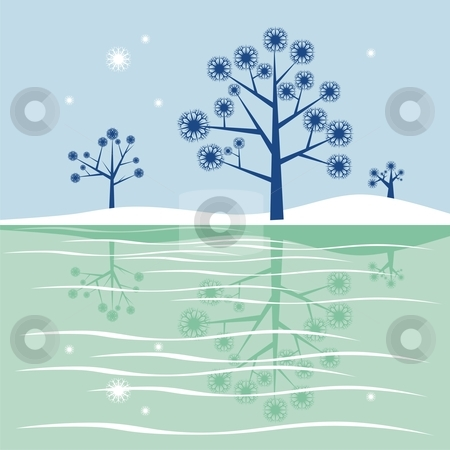 Lake clipart ice lake. Fully editable blue trees