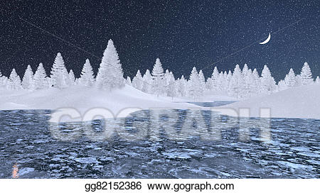 Lake clipart icy lake. Drawings snowy firs and