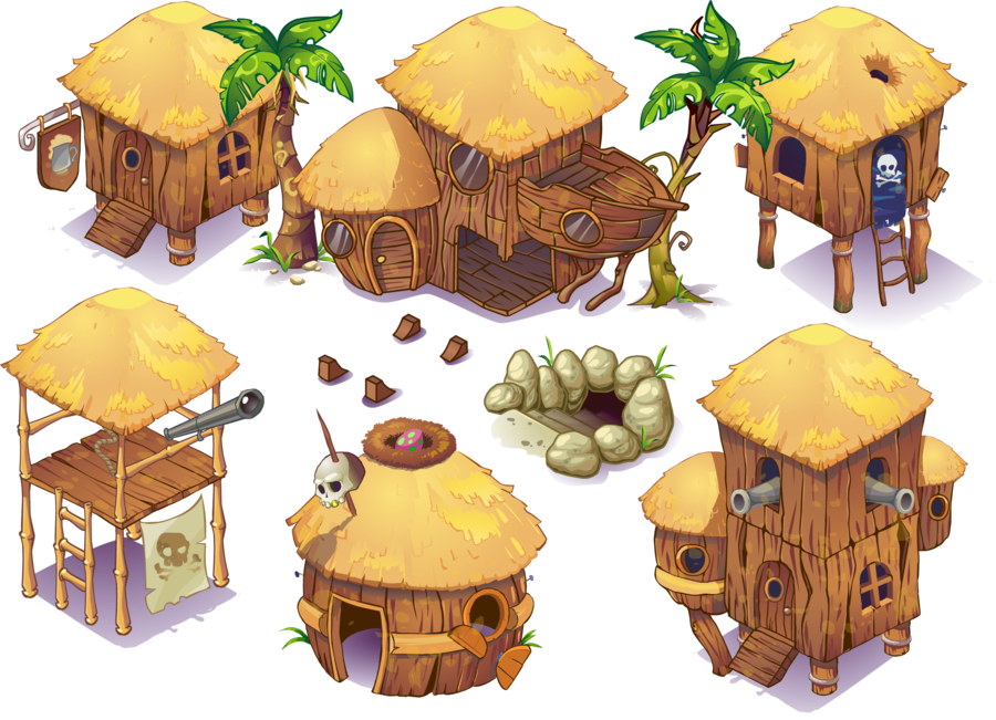 Buildings and other objects. Lake clipart isometric