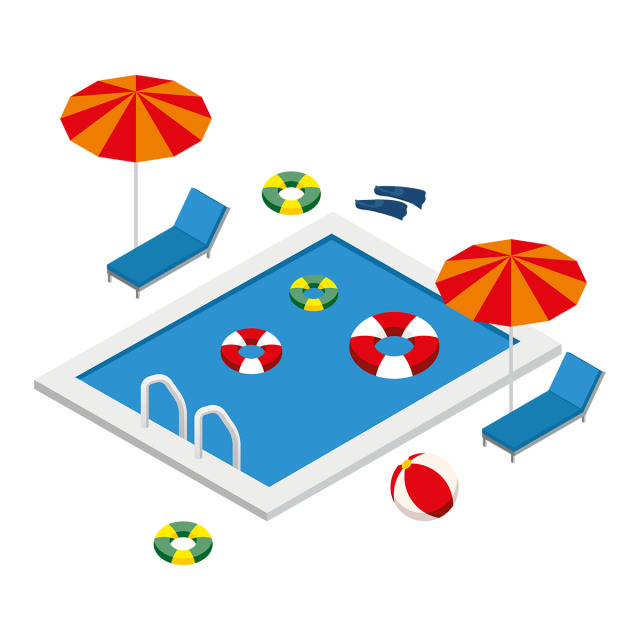 Lake clipart isometric. Swimming pool with summer