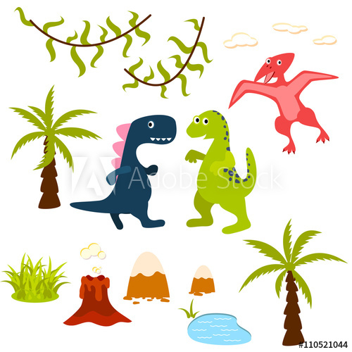 Dinosaur and tree set. Lake clipart jungle