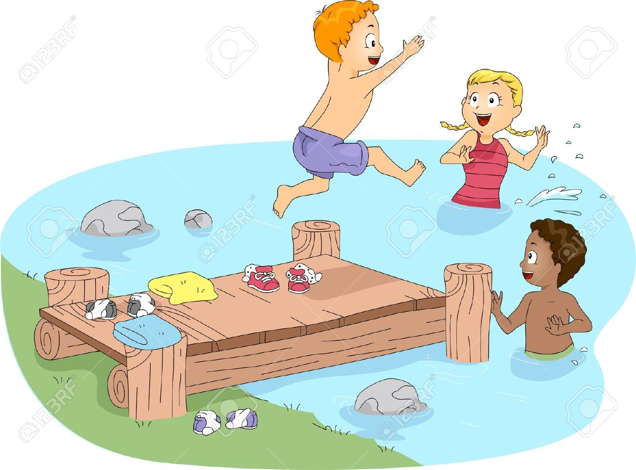 Kids swimming in . Lake clipart pool