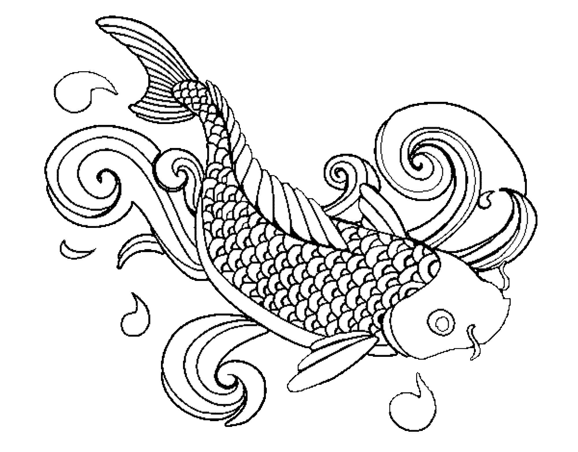 Fish drawing outline at. Lake clipart koi pond