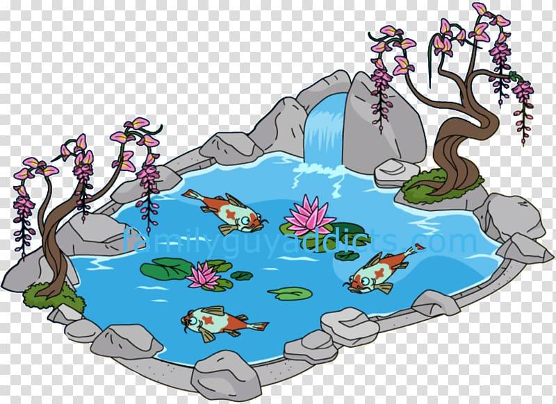 Cartoon transparent background png. Clipart lake koi pond
