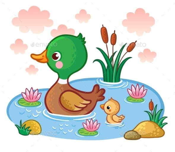Ducks clipart pond cartoon. A duck with ducklings