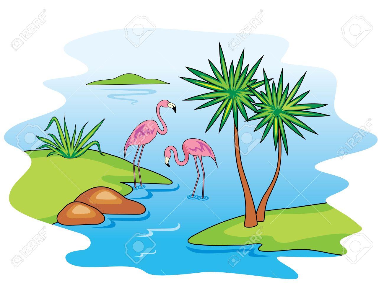 Lake clipart lake animal. Flamingo panda free images
