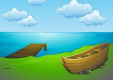 Drawing on the illustration. Lake clipart lake boat