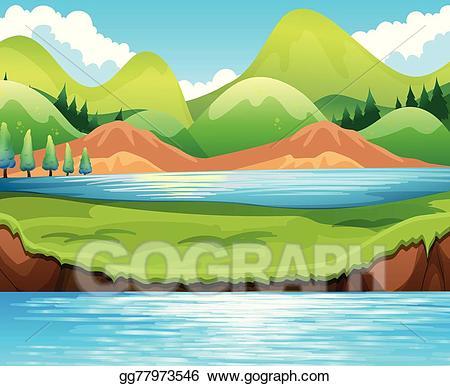 Lake clipart beautiful lake. Vector art scene drawing