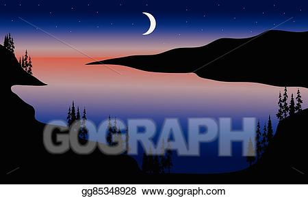 Eps illustration at night. Clipart lake lake scenery