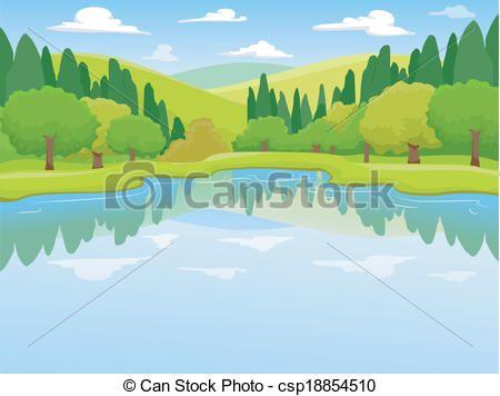 Clipart lake lake scenery. Vector stock illustration royalty