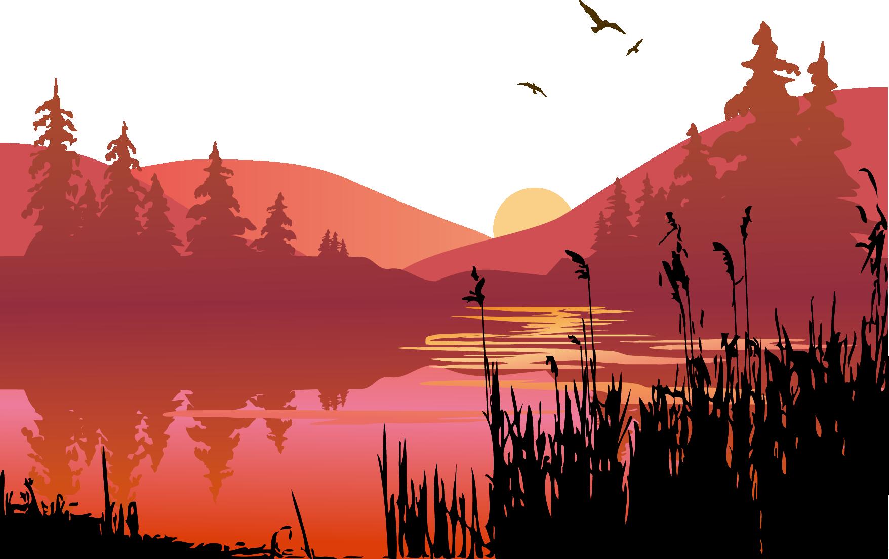 Clip art vector transprent. Lake clipart lake sunset