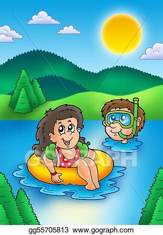 Stock illustration two kids. Lake clipart lake swimming