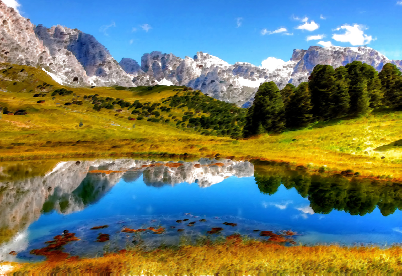 Surreal italian alps medium. Landscape clipart bridge