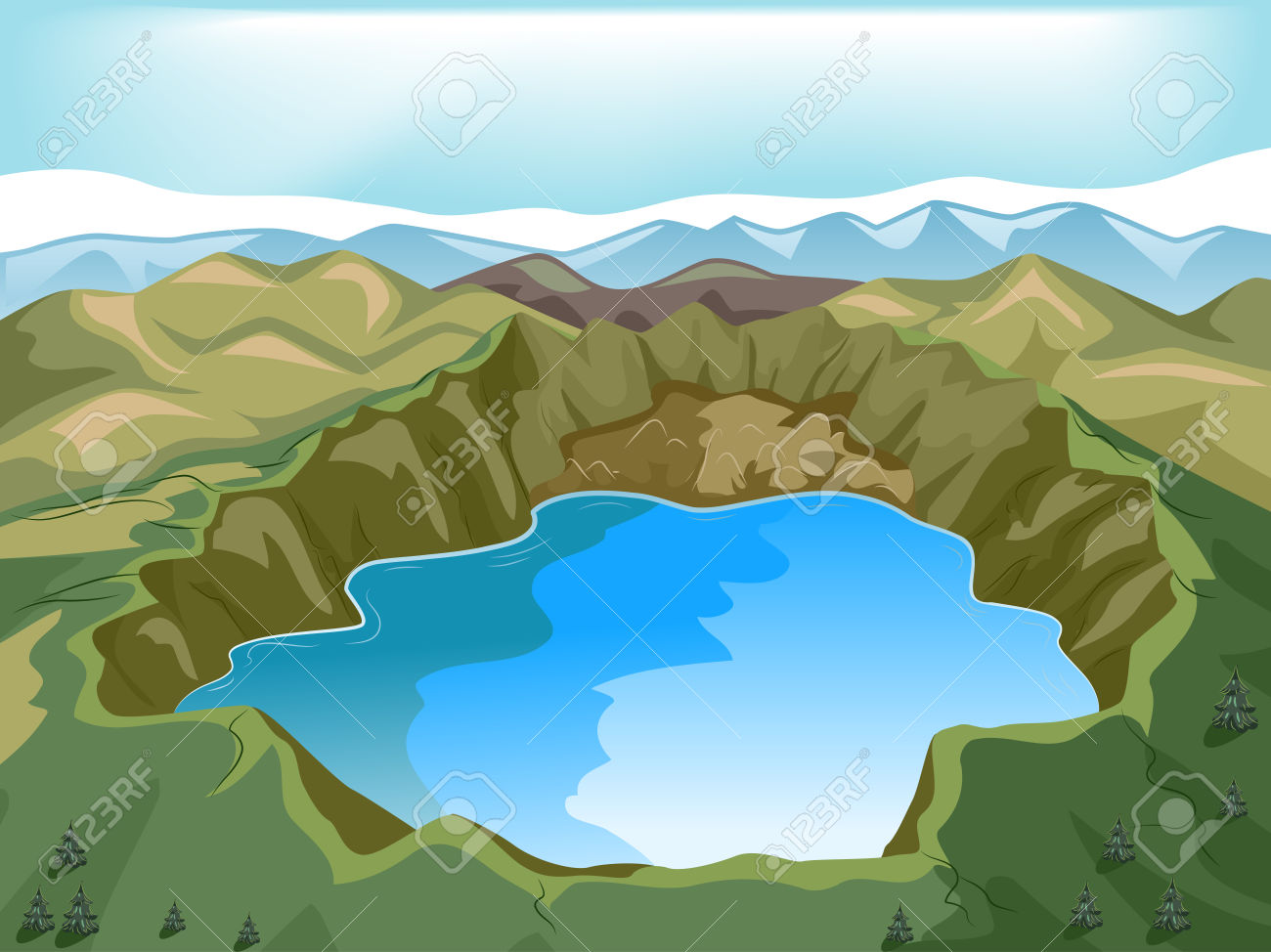 Lake clipart illustration. Of a crater panda