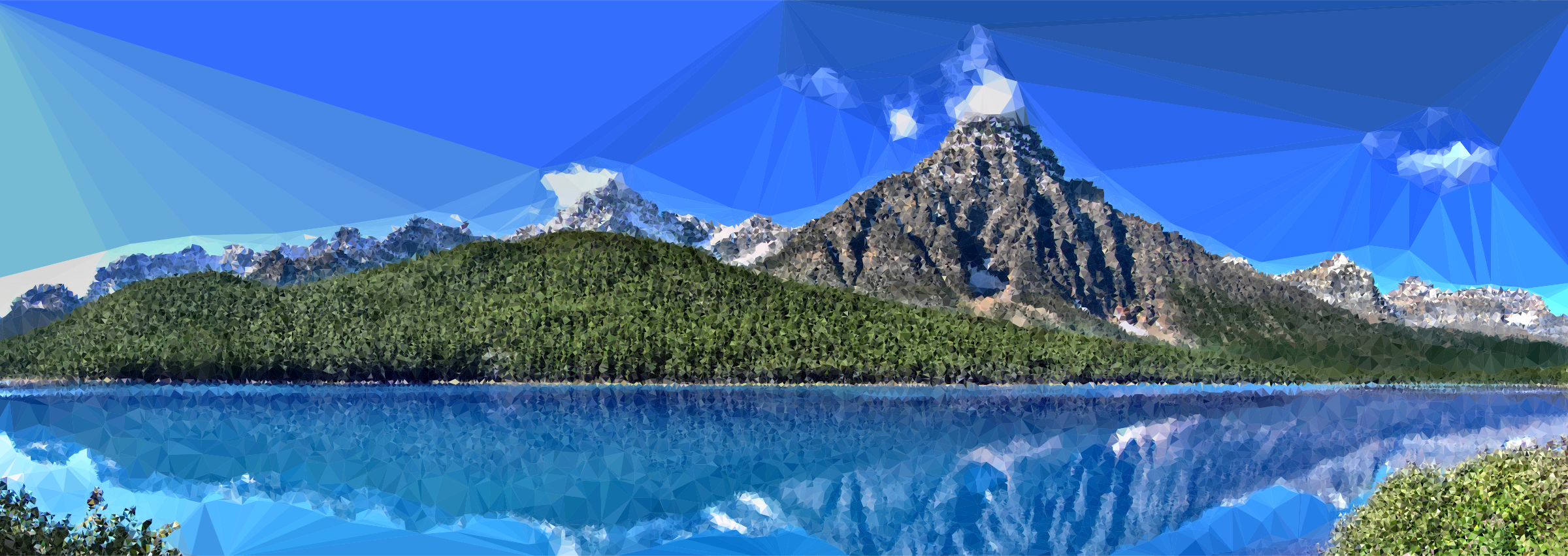 Lake clipart landscape canada. Low poly canadian nature