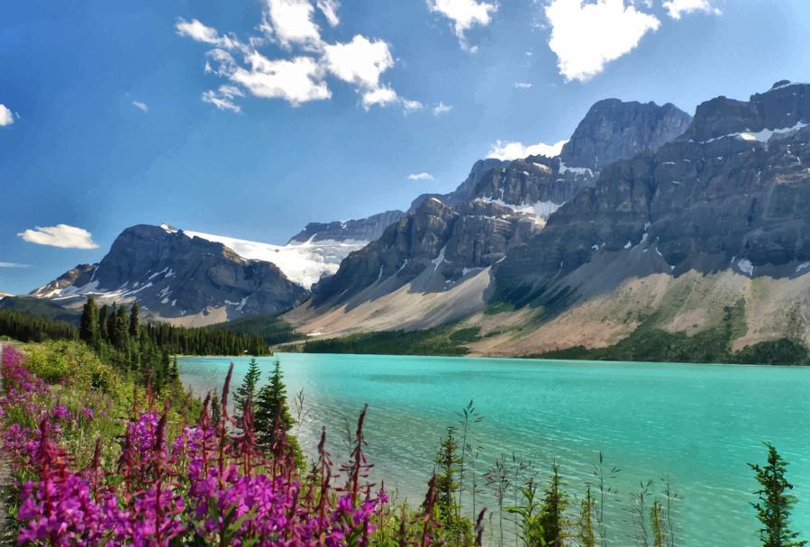 Cloud cartoon nature mountain. Clipart lake landscape canada