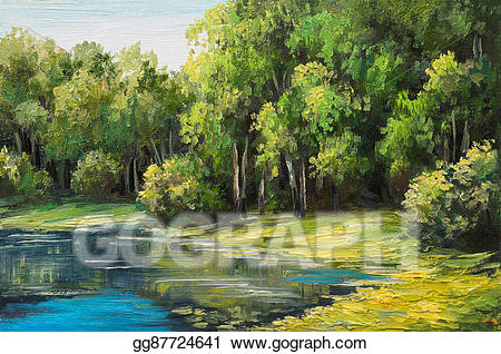 Lake clipart landscape painting. Stock illustration oil in