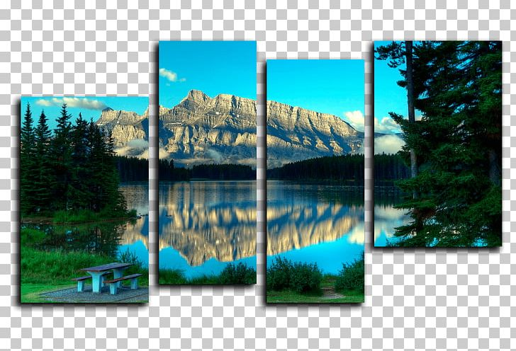 Clipart lake landscape painting. Two jack nature modern